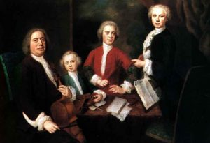 Bach with 3 of his children